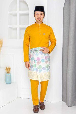 Baju Melayu Crystal Silk Mustard