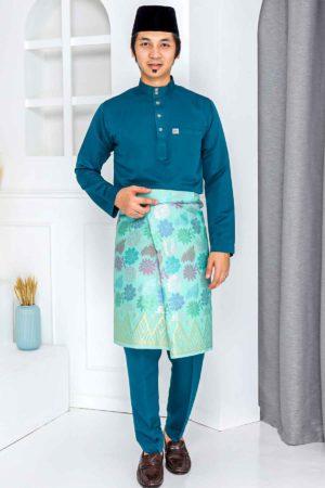 Baju Melayu Crystal Silk Teal Blue