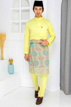 Baju Melayu Crystal Silk Yellow