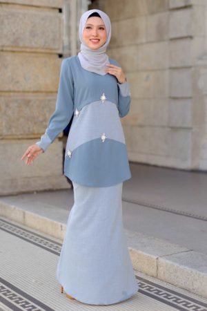 Kurung Camelia Blue Grey