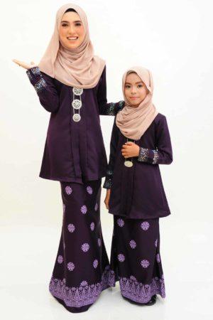 Kebaya Kain Songket Ibu & Anak Dark Purple (FREE SHAWL)