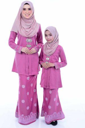 Kebaya Kain Songket Ibu & Anak Dusty Pink (FREE SHAWL)