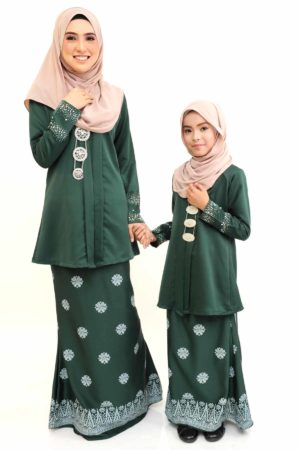 Kebaya Kain Songket Ibu & Anak Emerald Green (FREE SHAWL)