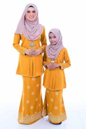 Kebaya Kain Songket Ibu & Anak Mustard (FREE SHAWL)