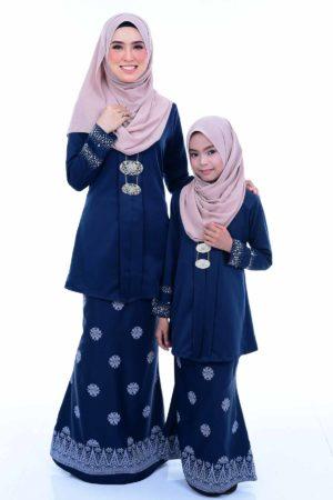 Kebaya Kain Songket Ibu & Anak Navy Blue (FREE SHAWL)