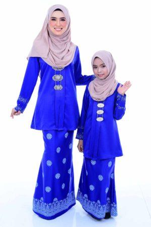Kebaya Kain Songket Ibu & Anak Royal Blue (FREE SHAWL)