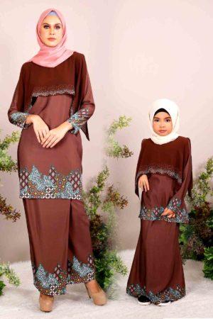 Kurung Seroja Ibu & Anak Cocoa (FREE SHAWL)