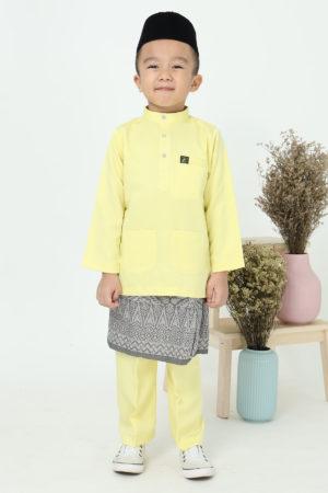 Baju Melayu Kids Soft Yellow