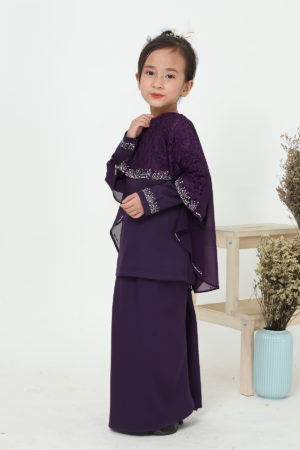 Kurung Meleana Kids Dark Purple