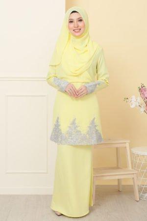 Kurung Alina Soft Yellow