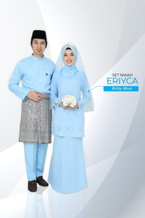 Set Couple Eriyca Baby Blue (7 ITEM – Termasuk Percuma Songkok )