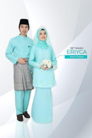 Set Couple Eriyca Mint Green (7 ITEM – Termasuk Percuma Songkok )