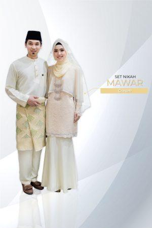 Set Couple Mawar Cream (7 ITEM – Termasuk Percuma Songkok)