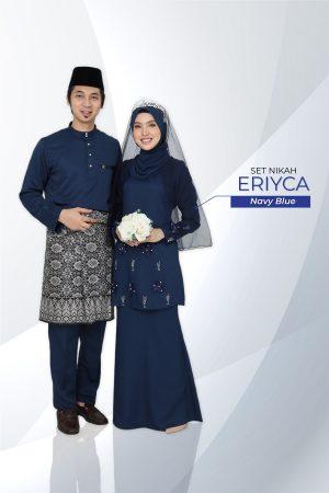 Set Couple Eriyca Navy Blue (7 ITEM – Termasuk Percuma Songkok )