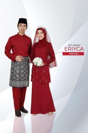 Set Couple Eriyca Maroon (7 ITEM – Termasuk Percuma Songkok )