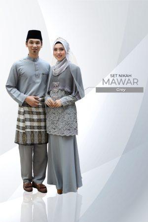 Set Couple Mawar Grey (7 ITEM – Termasuk Percuma Songkok)