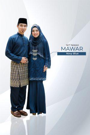 Set Couple Mawar Navy Blue ( 7 ITEM )