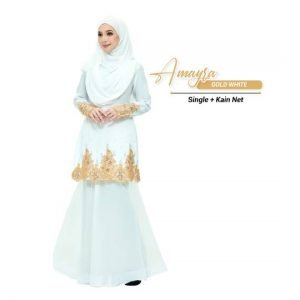 Kurung Amayra Off White + Lace Gold ( Add ons kain net)