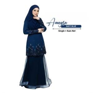 Kurung Amayra Navy Blue ( Add ons kain net )