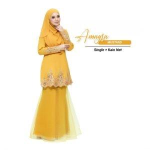 Kurung Amayra Mustard ( Add ons kain net )