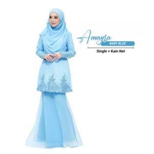 Kurung Amayra Baby Blue + Net