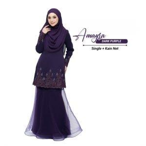 Kurung Amayra Dark Purple ( Add ons kain net )