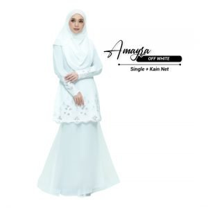 Kurung Amayra Off White + Lace White (Add ons kain net )