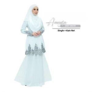 Kurung Amayra Off White + Lace Grey ( Add ons kain net )