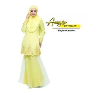 Kurung Amayra Soft Yellow ( Add ons kain net )