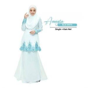 Kurung Amayra Off White + Lace Blue ( Add ons kain net )