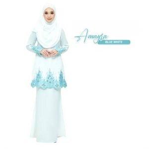Kurung Amayra Off White Blue