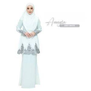 Kurung Amayra Off White Grey