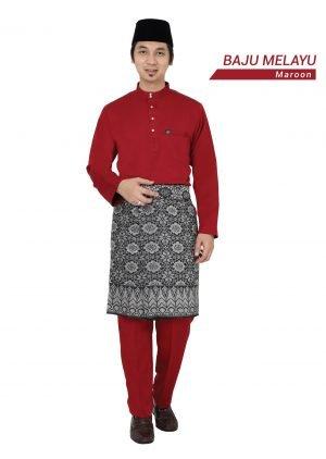 Set- Baju Melayu Al-Habib Maroon