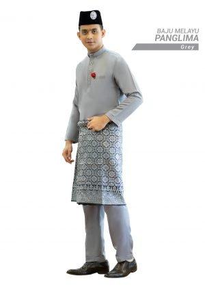 Set- Baju Melayu Panglima Grey