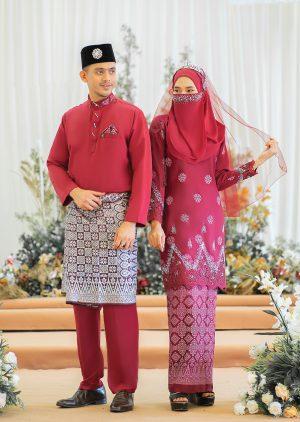 Set Couple Walinong Sari Maroon – PLATINUM