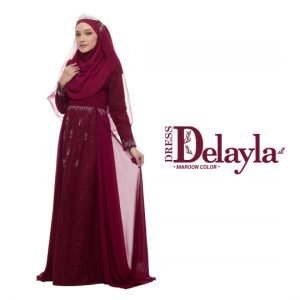 Dress Delayla  Premium Maroon