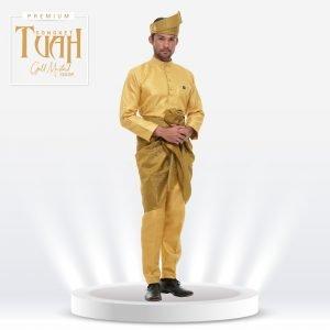Set Songket Premium Tuah Gold Mustard