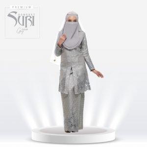 Set Songket Suri Premium Grey